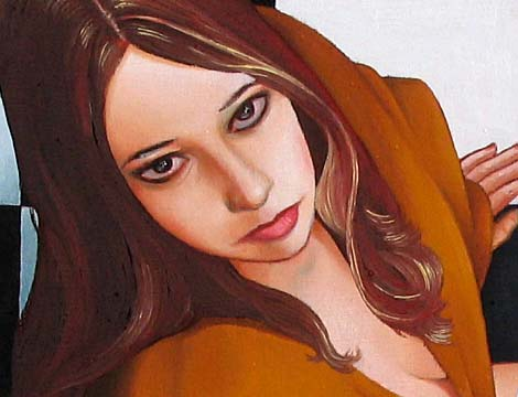 detail of girl painting