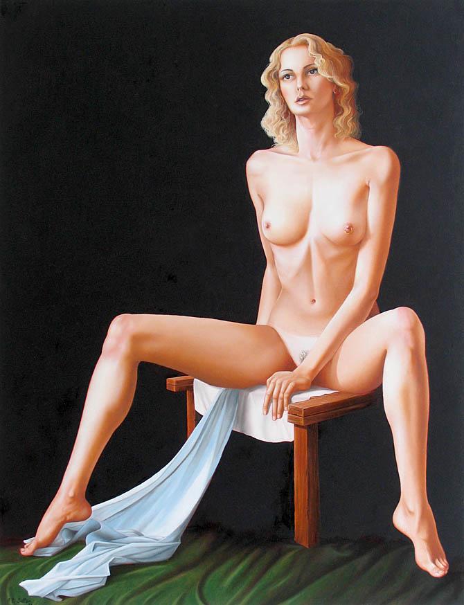 full nude figure painting art on board