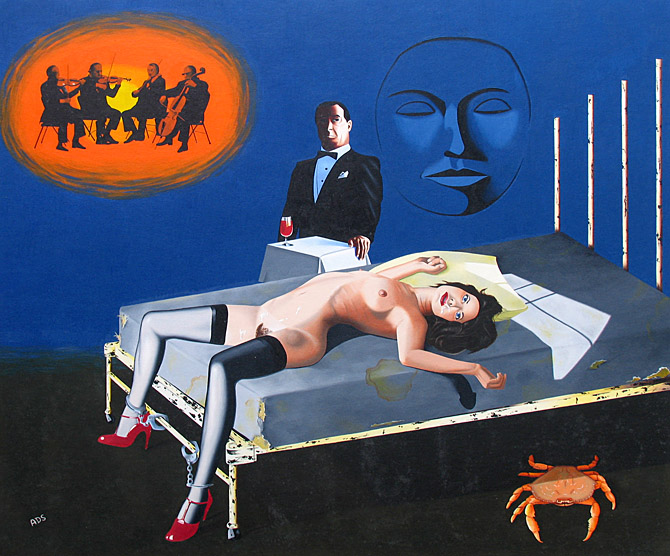 Surreal bondage painting