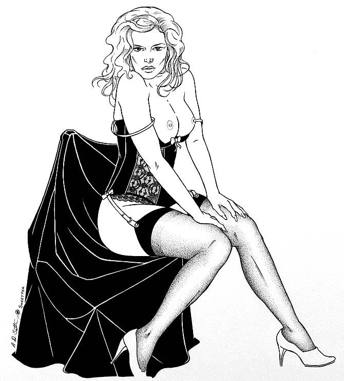 nude erotic drawing girl in corset