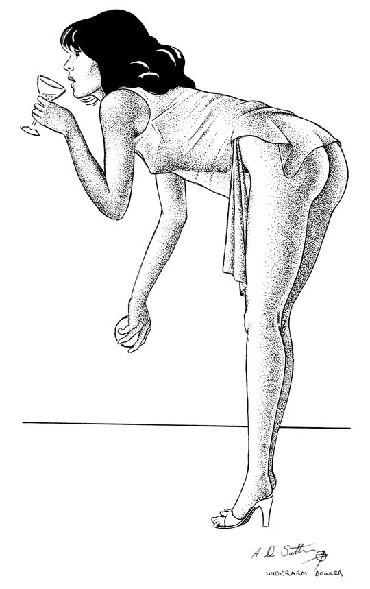 nude erotic drawing of female bowler